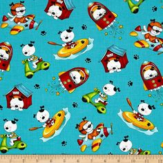 Spots Perfect Day Tossed Dogs Blue from @fabricdotcom  Designed by Marie Cole for Henry Glass & Co., this cotton print is perfect for quilting, apparel and home decor accents. Colors include black, grey, blue, green, orange, red, pink and white.