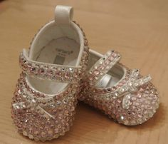 Pretty pink Mary Janes Swarovski toddler / baby ballet slippers no flash pic