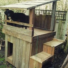 So beautiful pallet dog house, reclaimed wood