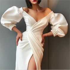 Puff sleeve dresses - Off Shoulder Puff Sleeve Split Long Dress – Puff sleeve dresses Elegant Dresses For Women, Sexy Dresses, Beautiful Dresses, Fashion Dresses, Prom Dresses, Sheath Dresses, Casual Dresses, Fashion Clothes, 1950s Dresses