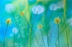 Dandelion watercolor painting with salt and rubbing alcohol