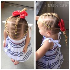 Today I did 3 columns with 4 ponies each. The side columns I did on a diagonal for a fun effect! Then I pulled all the hair into a bubble pony. I like bubble ponies lately because her hair isn't quite long enough to do a big braid without getting tons of fly-always!  #toddlerhair #toddlerhairideas #toddlerhairstyles #cutetoddlerhair #cutegirlhair #toddlerhairstyleideas #hairideas #toddlerstyle #easyhairstyle #easyhairstyles #girlhair #littlegirlhair #littlegirlhairstyle #toddler #buns…