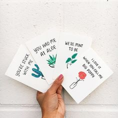 I love it when you call me big poppy! ✨Some plant pun cards up on the shop. Get your gf/bf/galpal/mistress/sidehoe/wife/neighbor one for vday Flower Puns, Succulent Puns, Cute Gifts, Diy Gifts, Birthday Puns, Cute Puns, Pun Card, Cards For Boyfriend, Bday Cards
