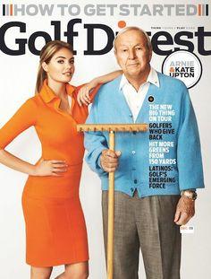Kate Upton somehow landed on the cover of Golf Digest, alongside Arnold Palmer.