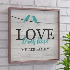 Personalized love lives here wood pallet wall decor personalized family nam