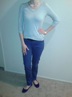 R9May13--Light blue silk blend v-neck sweater (Talbots) over white cami (Ann) over royal blue jeans (Talbots) with lucite and stone necklace (LOFT), silver tone linked bracelet (LOFT), blue grosgrain belt (Talbots), white enamel and silver tone stacked rings (Banana) and faux suede cobalt flats.