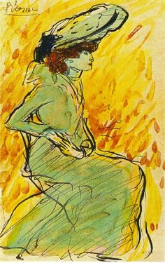 Seated woman in green, 1901, Pablo Picasso Size: 17.5x11.5 cm Medium: indian ink, watercolor on paper