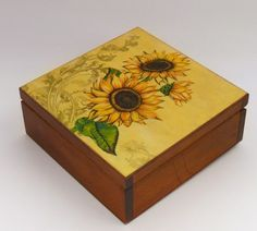 Decoupage sunflower box
