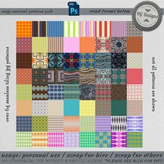This is a bunch of seamless patterns I've created and never posted so I put them all in one mega file for you. There's over 64 patterns and they include stripes, hexagons (not pictured), diamonds...