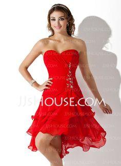 Homecoming Dresses - $126.49 - A-Line/Princess Sweetheart Asymmetrical Chiffon Homecoming Dress With Ruffle Beading Sequins (022009369) http://jjshouse.com/A-Line-Princess-Sweetheart-Asymmetrical-Chiffon-Homecoming-Dress-With-Ruffle-Beading-Sequins-022009369-g9369