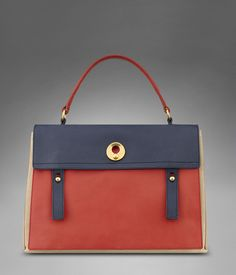 LARGE YSL MUSE TWO IN RED, NAVY BLUE & BEIGE LEATHER