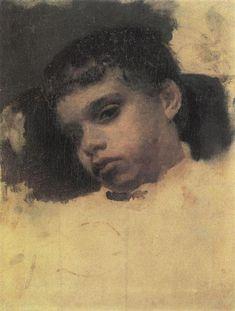 Portrait of Kolya (Nikolay) Simonovich, 1880 by Valentin Serov. Realism. portrait