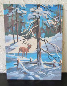 Winter Stillness 29YYY8 Craft Master 1978 Vintage Paint by Number PBN Unframed Painting AtomicPutz.com