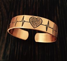 Heartbeat copper bracelet
