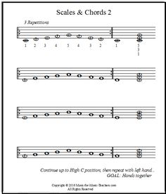 Pentascales on the white keys for piano beginners - with helper notes for easy note reading