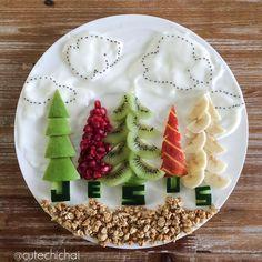 "2,504 Beğenme, 100 Yorum - Instagram'da m i c h a e l a (@cutechichai): ""Day 1⃣4⃣. Fruit, yogurt and granola breakfast! #kiwi #healthy #foodart #christmastrees…"""