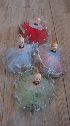 Adorable vintage Christmas ornaments. Set of 4. Sweet angels with tulle tutus and halos. Marked Made in Japan. Each has a pipe cleaner for