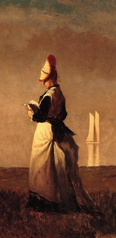 Woman Reading, detail (ca. 1874).Eastman Johnson (1824–1906). Realism. Oil on cardboard. The San Diego Museum of Art.