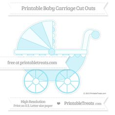 Pastel Aqua Blue  Extra Large Baby Carriage Cut Outs