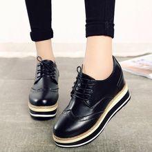 2016 Primavera Mulheres Sapatos De Couro Rendas Até Sapatos Oxfords Mulher Sapatos de Plataforma Trepadeiras Negras Senhoras Apartamentos Zapatos Mujer Branco 3470(China (Mainland))