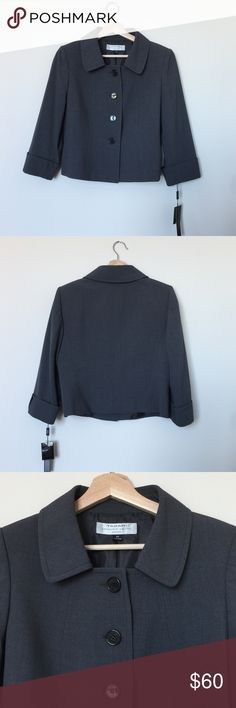 Tahari Arthur S. Levine Blazer 🌷Please Read the description! Thanks!🌷  Brand new with tag Size: 6P Retail: $129 Charcoal grey  Color may be slightly different bcz of lighting  🌷Price is FIRM unless bundled 🌷NO Trades         🌷NO Holds 🌷All sales are final Welcome product-related questions! You are responsible for your size. Tahari Jackets & Coats Blazers