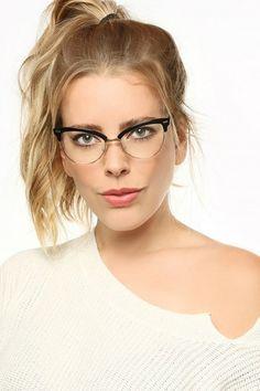 Evelyn kovový rám Cat Eye Clear brýle
