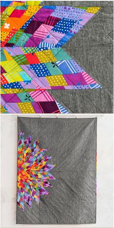 Luminary quilt by Allison Glass featuring Andover Chroma for Craftsy.  Colorful scrappy star quilt.  affiliate link.