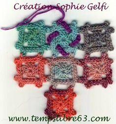 Tuto mini grannys 3d création Sophie Gelfi       ♪ ♪ ... #inspiration_crochet #diy GB