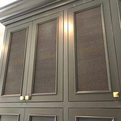 Brass mesh detail on cabinet - color Cheating Heart Benjamin Moore Built In Wardrobe, Cabinet Doors, Built Ins, Home Renovation, Kitchen Remodel, Lockers, Kitchen Design, Ikea, New Homes