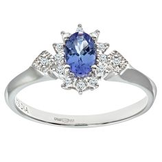 Bague Femme - PR08086W Tanz-P - Or Blanc 375/1000 (9 Cts) 1.9 Gr - Diamant / Tanzanite 0.004 Cts #Bague #Femme #Or #Blanc #Diamant