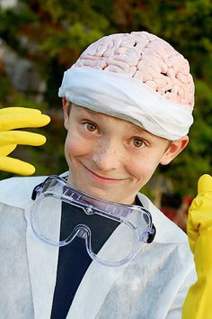 Mad scientist costume (brain hat!)