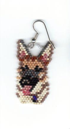 hand beaded annie the sheppard dangle earrings от jjsims43 на Etsy