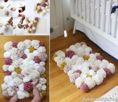 Colorful DIY Pom-Pom Rug and Another Creative Projects Diy Pom Pom Rug, Pom Pom Crafts, Diy And Crafts Sewing, Crafts For Kids, Diy Crafts, Embroidery Designs, Diy Inspiration, Yarn Projects, Home And Deco