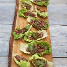 Asian-style tuna ceviche from Jamie Oliver - Enjoy the creamy texture of raw tuna and the crunch of romaine lettuce leaves. If sesame and soy sauce don't fit into your dietary routine, lemon juice and raw olive oil are just as tasty. Found at www.edamam.com.