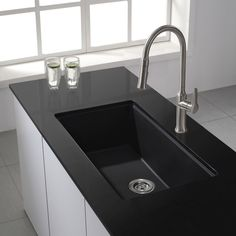 Kraus KGU-413B Universal Kraus 31 inch Undermount Single Bowl Black Onyx Granite Kitchen Sink Black Onyx - eFaucets.com
