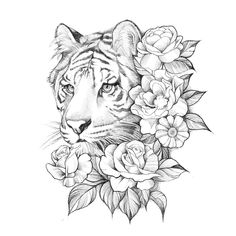White tiger and roses Tiger Tattoo Small, Tiger Tattoo Sleeve, Tiger Tattoo Design, Cat Tattoo, Sleeve Tattoos, Tiger Thigh Tattoo, Tiger Sketch, Tiger Drawing, Tiger Art