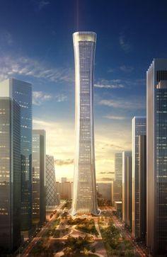 CITIC, by Kohn Pedersen Fox. Art Et Architecture, Futuristic Architecture, Amazing Architecture, Modern Skyscrapers, Modern Buildings, Office Buildings, Modern Houses, Future Buildings, Beijing China