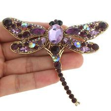 Dragonfly Insect Brooch Pin Purple Austrian Crystal Gold Tone Women Vintage Gift
