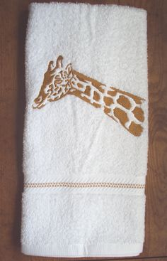 Giraffe Silhouette Embroidered Bathroom Hand By PJSEMBROIDERY