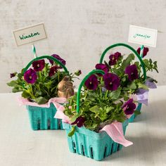 Easter Carton Planters - 25 Easy Spring Decorating Ideas We're DIYing this Weekend - Southernliving. These little planters will make beautiful place card holders on your Easter lunch table.  Watch the tutorial here.
