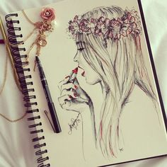 drawing-flower-crown-girly-illustration-Favim.com-1208529.jpg 500×500 pixels