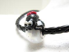 Lampwork-Beads - Modulperle aus Glas mit fimo Kreuzspinne - ein Designerstück von annanaseweis bei DaWanda