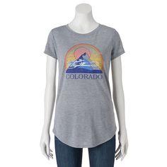 Juniors' THE Print Shop Colorado Mountain Graphic Tee, Girl's, Size: Medium, Grey