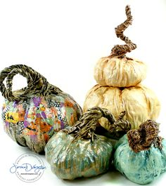 Paper Mache pumpkins and Jack O Lanterns by sculpture artist Jessica Dvergsten.
