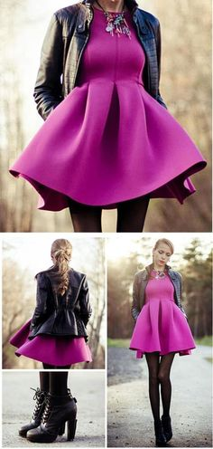I have this dress. Long Sleeve Slim Dress with Skater Skirt in Peach Fall Outfits, Dress Outfits, Dress Up, Cute Outfits, Fashion Outfits, Womens Fashion, Dress Long, Trendy Fashion, Fuschia Dress