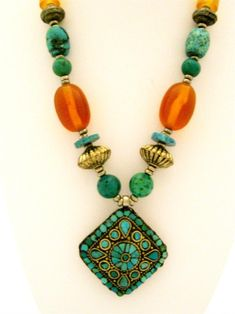 Tibetan Jewelry Ethnic Necklace in Turquoise and Faux Amber