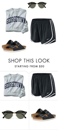 """causal"" by adrianagonzalez-t on Polyvore featuring Champion, NIKE, Ray-Ban and Birkenstock"