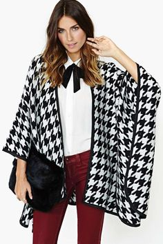 High Drama Houndstooth Cape