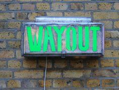 1890's Old Theatre Gas Light 'WayOut' Sign @ Elemental Shop - London UK