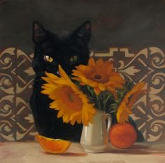 Black Muse, painting of cat and sunflowers by Diane Hoeptner